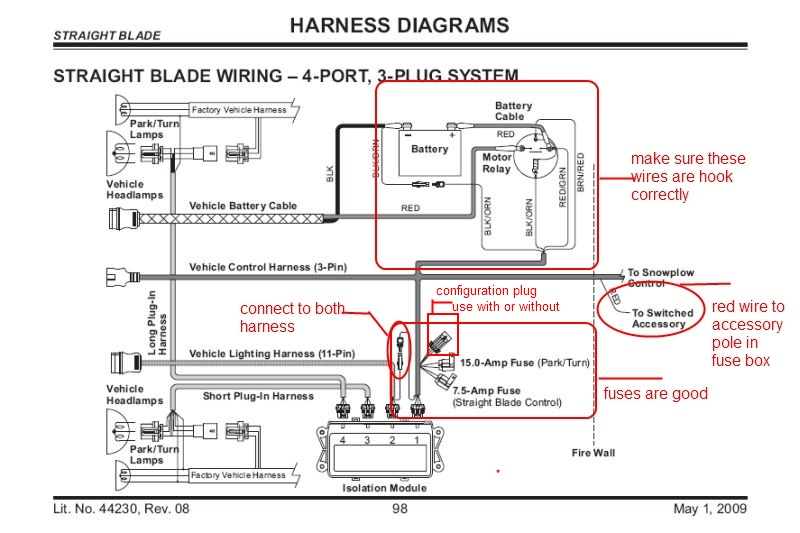 fisher 4 port isolation module wiring diagram stereo volume control only one headlight on plow (low beam) | plowsite