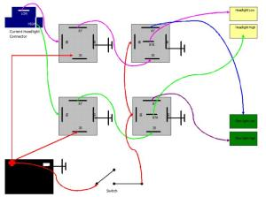 Wiring plow lights hilow beam with relays | PlowSite