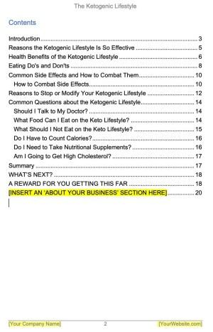 Ketogenic-PLR-eBook-Contents
