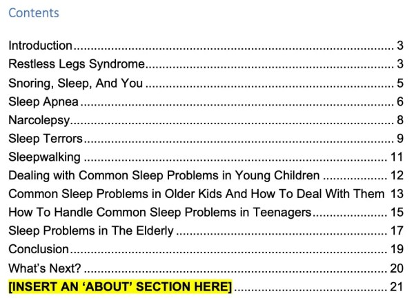 Sleep Problems PLR Screenshot 2 contents