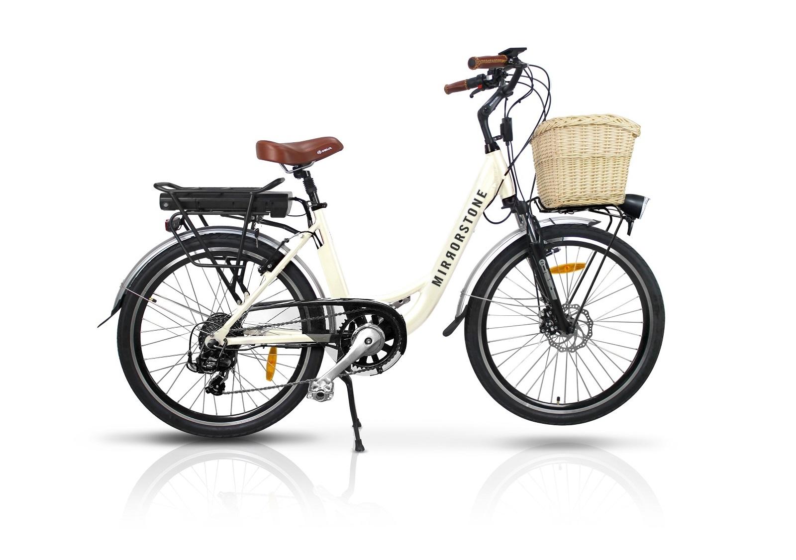 Vintage Dutch Style Electric Bike Milky White 26 Wheels