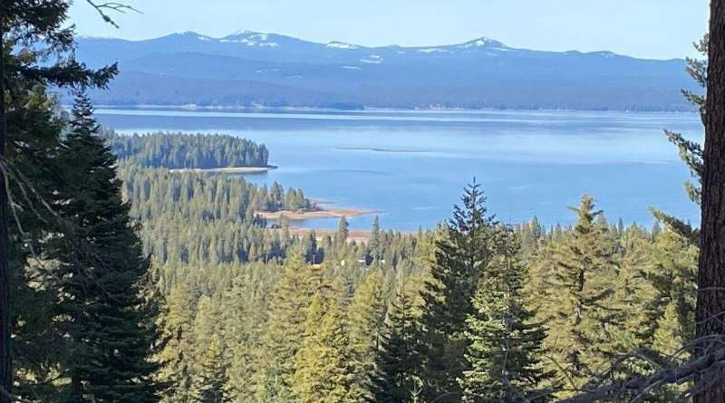 Ideal fishing on the horizon at Almanor; some ice at Davis