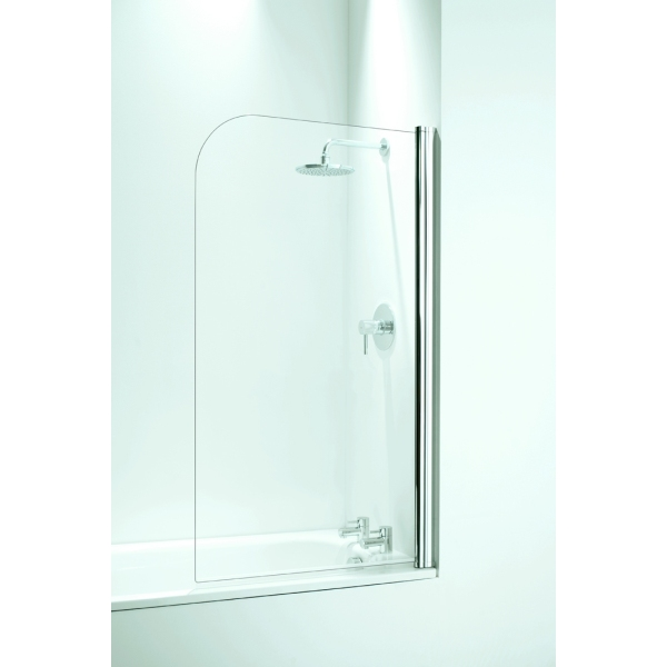 Coram Frameless Curved Bath Screen 800mm Chrome