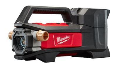 milwaukee m18 transfer pump angled view