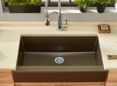 top view of elkay quartz luxe farmhouse sink