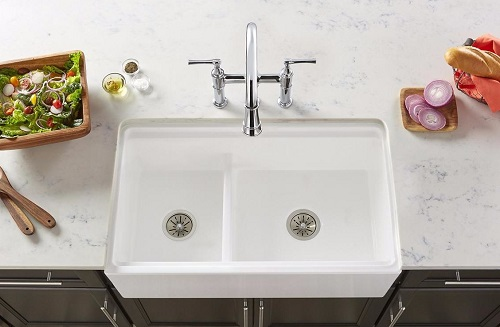 top view of new Elkay Fireclay Farmhouse Sink w/ Aqua Divide
