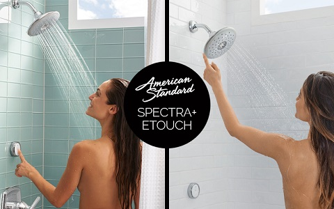 with the touch of a button you can control your spectra+ etouch shower