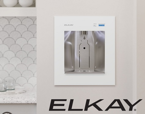 wall-mounted installation of elkay ezh2o liv bottle filler with remote chiller