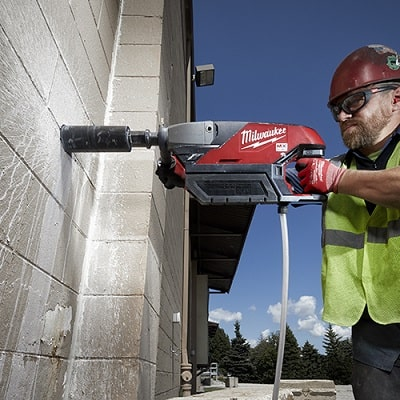 action shot of milwaukee mx fuel core drill