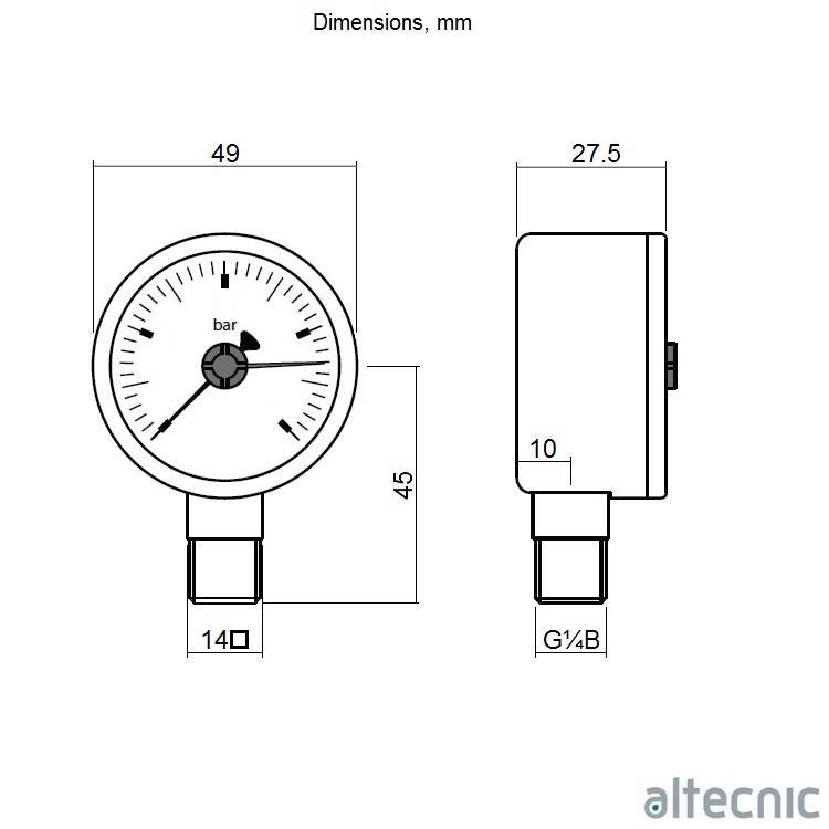 ALTECNIC 0-10 bar Pressure Gauge, 1/4
