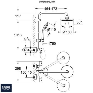 GROHE Euphoria System 180 Thermostatic Bar Shower, 2