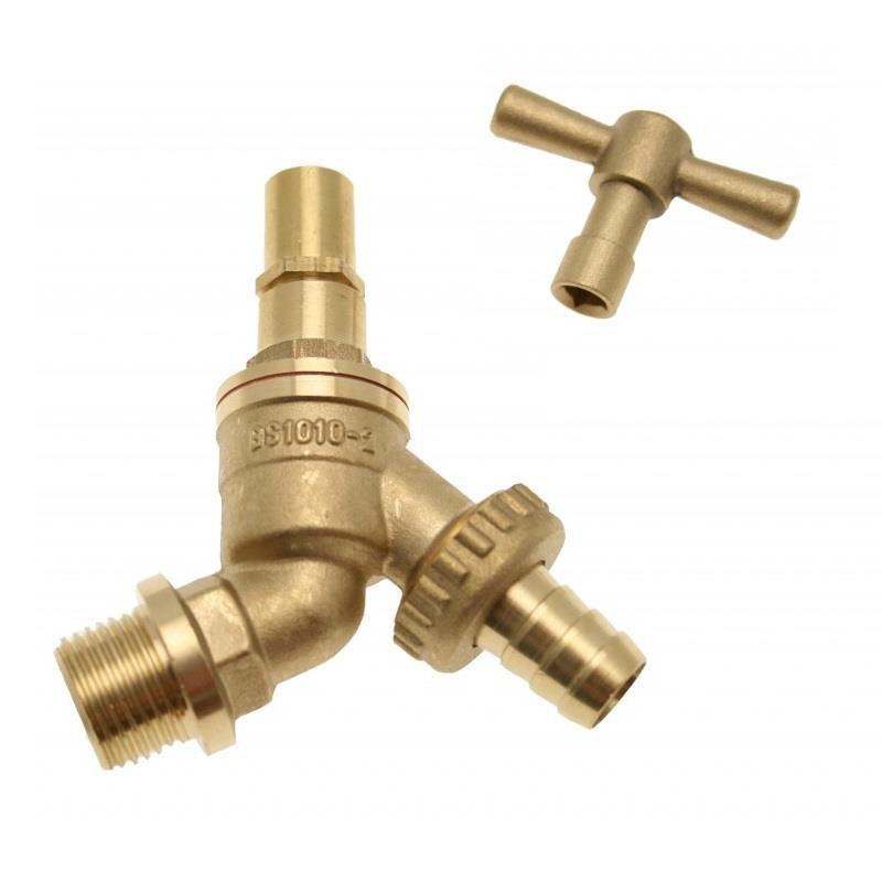 VHBL Brass Hose Union Lockshield Bib Tap 12 cw Tap Key