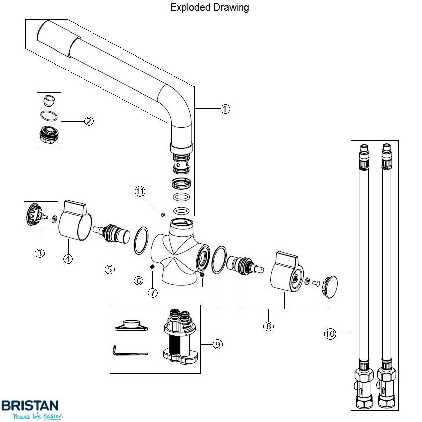 BRISTAN Sigma Easyfit Monobloc Kitchen Sink Mixer, Chrome