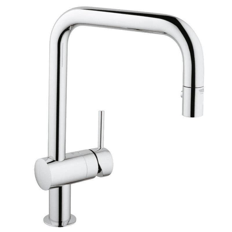 grohe minta monobloc kitchen sink mixer square pull out spray chrome 32322 000