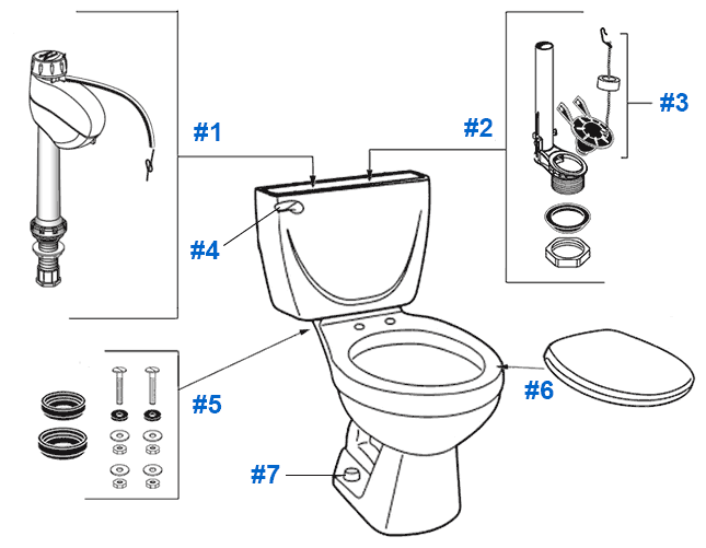 American Standard Toilet Repair Parts for Cascada Series
