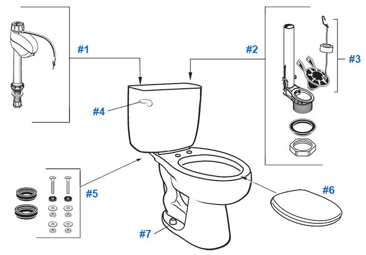 American Standard Toilet Repair Parts for Infinity Series