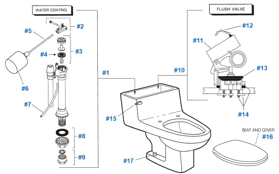 American Standard Toilet Repair Parts for Lexington Series