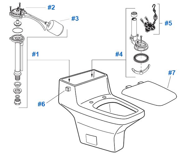 American Standard Toilet Repair Parts for Plaza Suite