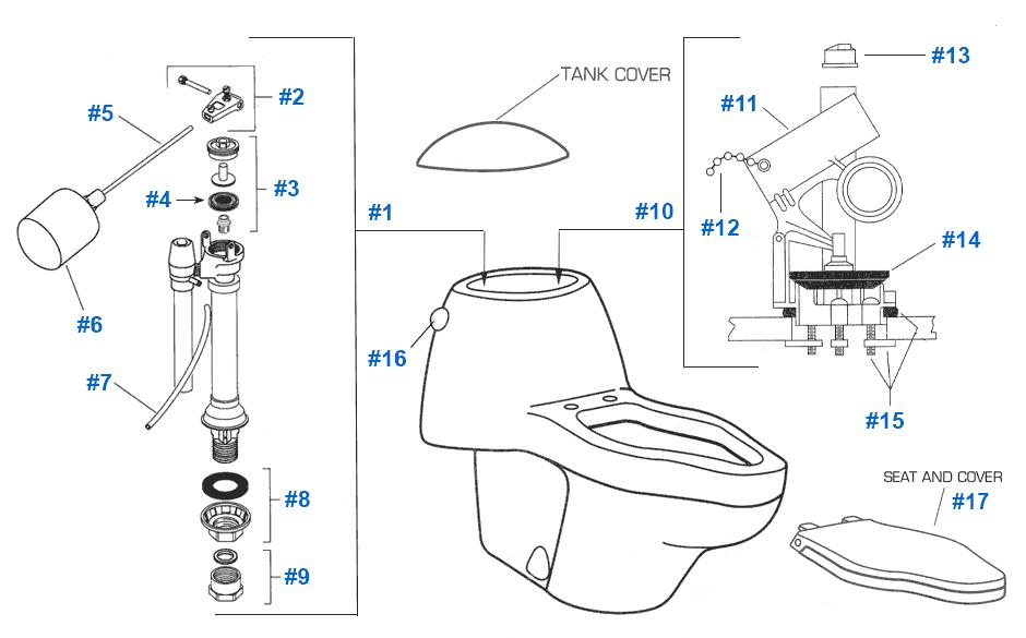 American Standard Toilet Repair Parts for Platner Series