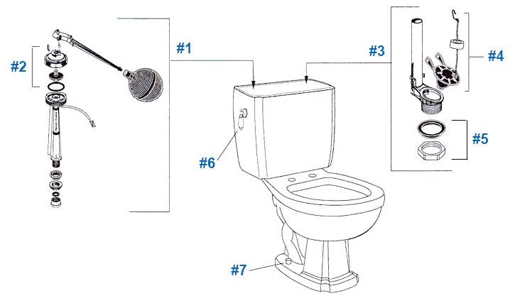 American Standard Toilet Repair Parts for Repertoire
