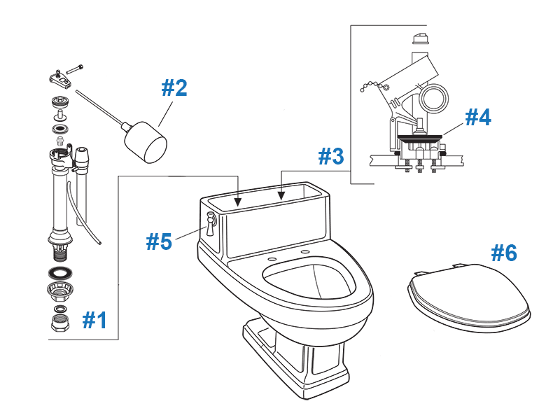 American Standard Toilet Repair Parts for Heritage Series