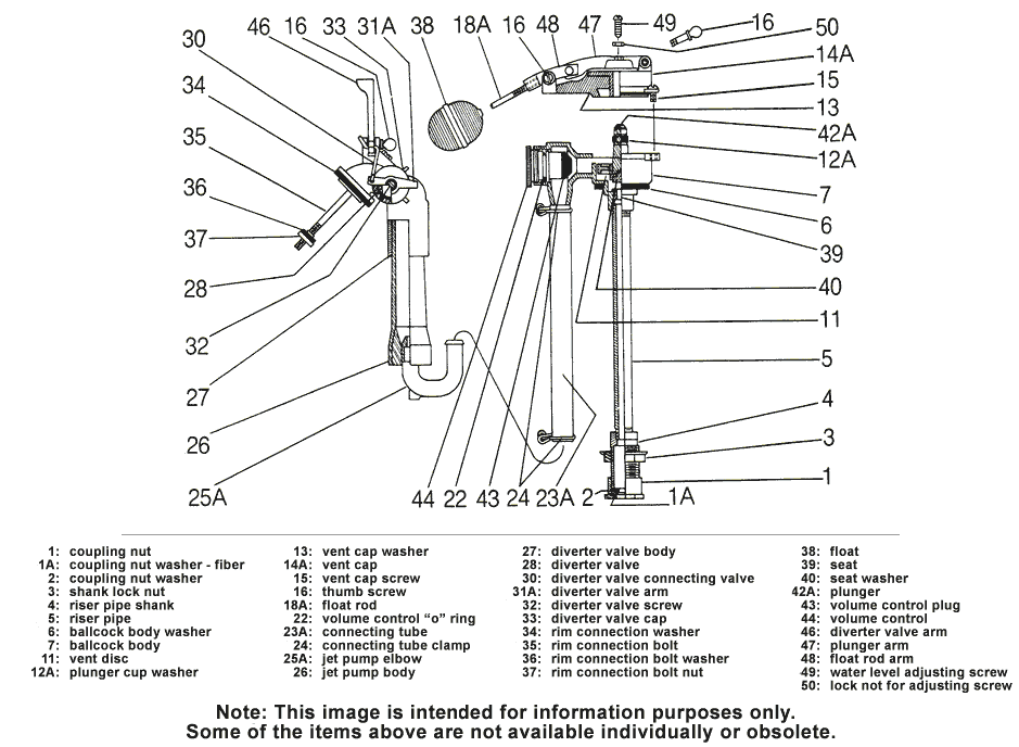 Toilet Repair Parts for Case and Briggs Model's 6005 and 9000