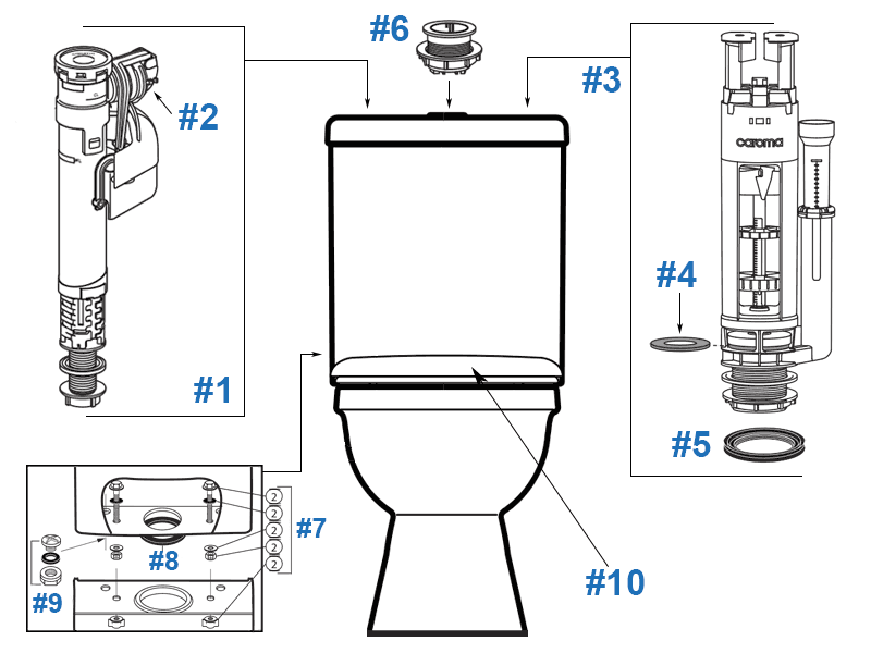 Caroma Adelaide Toilet Replacement Parts