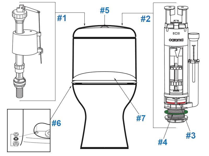 Caroma Caravelle Toilet Replacement Parts