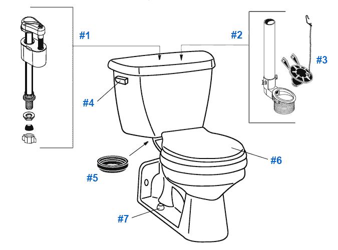 Repair & Replacement Parts for Crane Flormont Toilets
