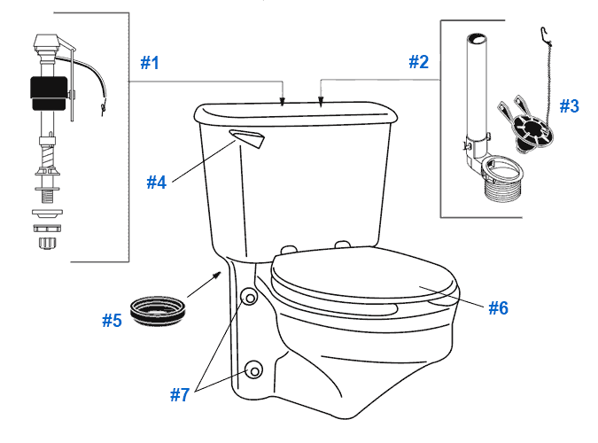 Repair & Replacement Parts for Crane Rexmont Toilets