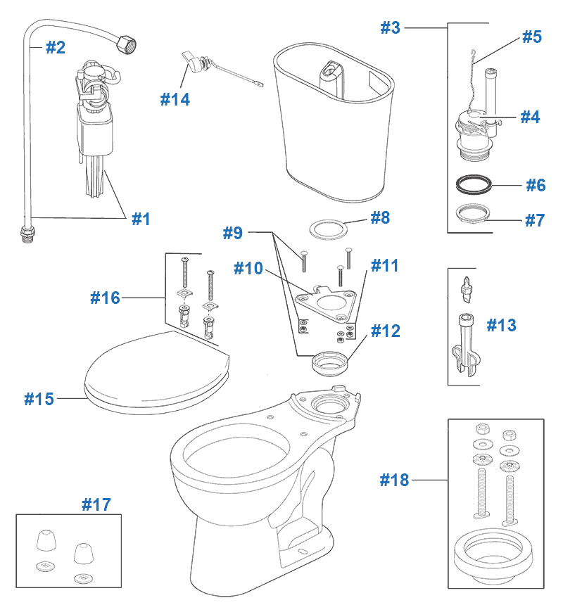 Repair & Replacement Parts for Delta Lilah Toilets