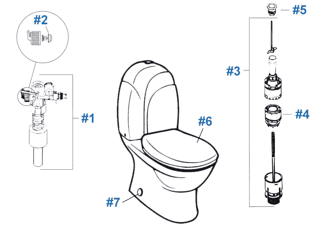 Eljer Contoura Series Toilet Repair Parts