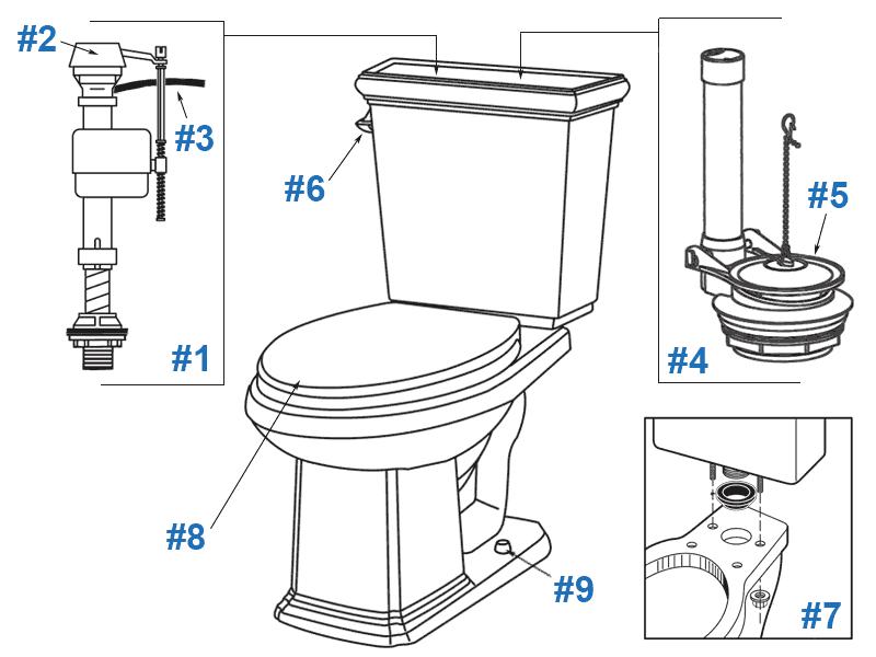 Repair & Replacement Parts for Gerber Logan Square Toilets