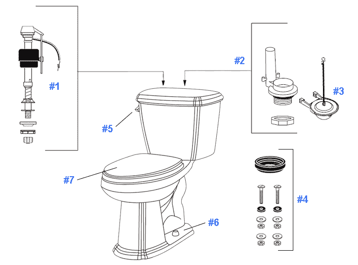 Repair & Replacement Parts for Gerber Picturesque Toilets