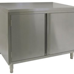 Stainless Steel Restaurant Kitchen Cabinets Standard Trash Can Size Quality Enclosed Base Tables