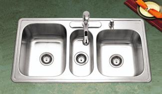triple bowl drop in top mount kitchen sinks