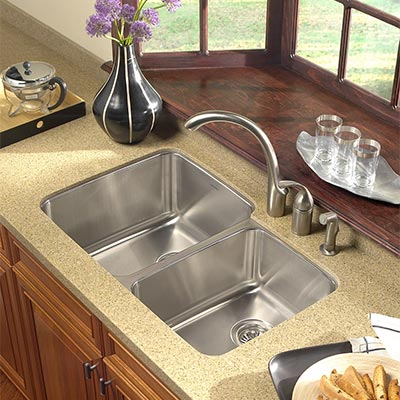 stainless steel undermount kitchen sinks backyard kitchens houzer medallion gourmet sink