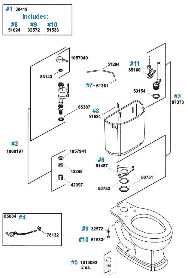 Portrait Series Toilet Repair Parts by Kohler