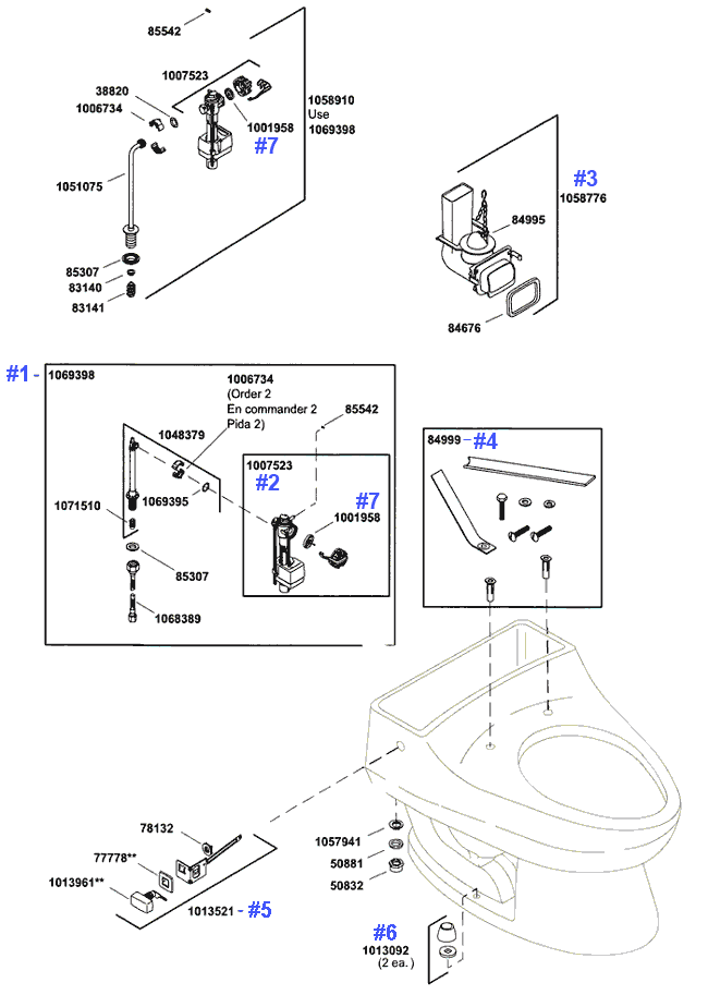 Kohler San Raphael Series Toilet Repair Parts and Schematics
