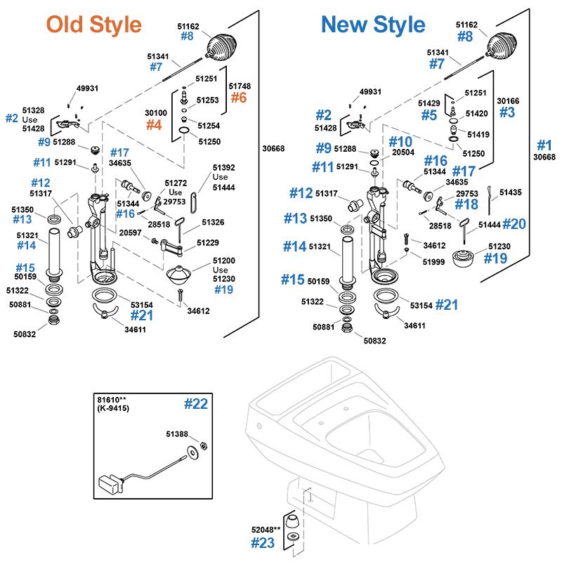 Kohler toilet repair parts and toilet seats for the Kohler