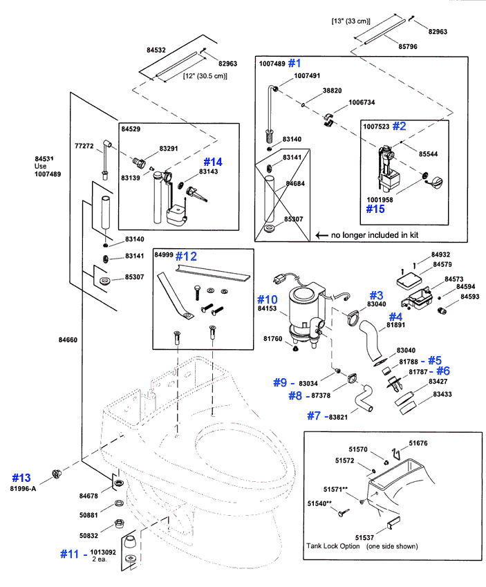 Kohler San Raphael Series Toilet Repair Parts and Schematics