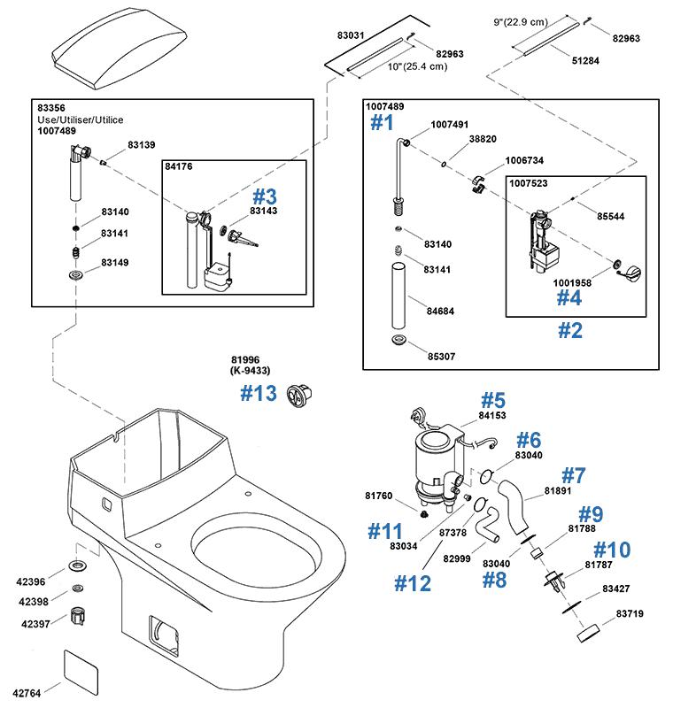 Kohler Trocadero Series Toilet Repair Parts and Schematics