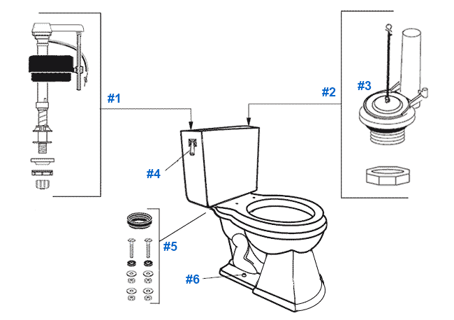 Mansfield Barrett Toilet Replacement Parts