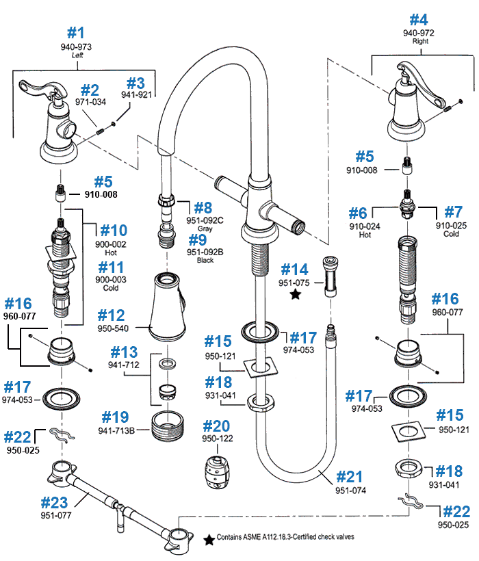 kitchen faucet repair free standing pantry price pfister ashfield series parts pull out