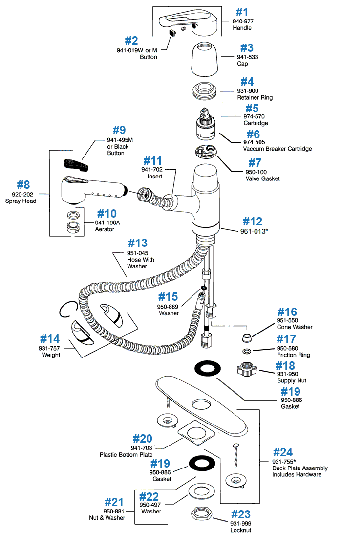 Price Pfister PullOut Kitchen Faucet Repair Parts