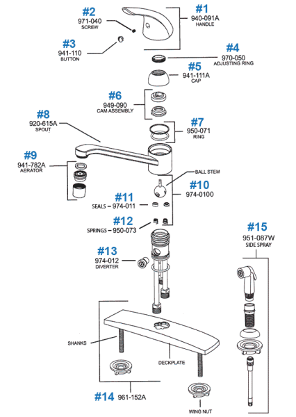 price pfister bathroom faucet parts Price Pfister Kitchen Faucet Parts - Pfirst Series