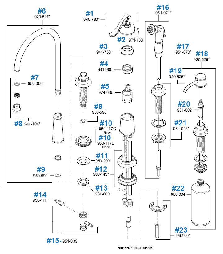 ashfield series kitchen faucet repair parts