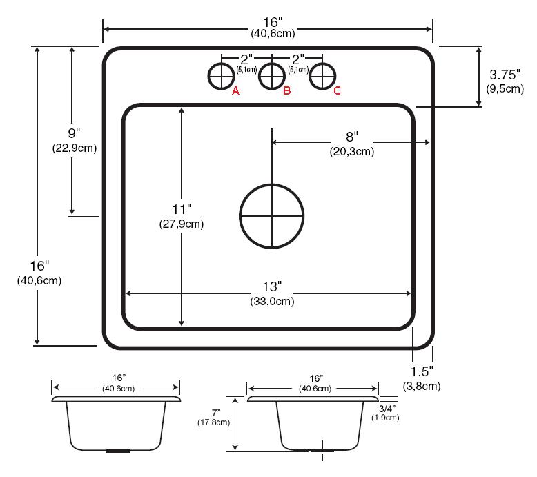 standard sink faucet hole size a