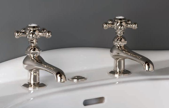 old-fashioned style basin taps for bathroom sinks
