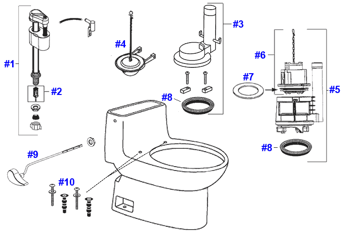 Toto Carlyle Toilet Replacement Parts
